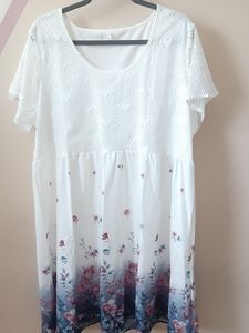 Lace Hearts Neckline And Floral Bottom Dress